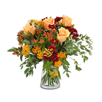 Herbsbouquet in rot, orange und apricot