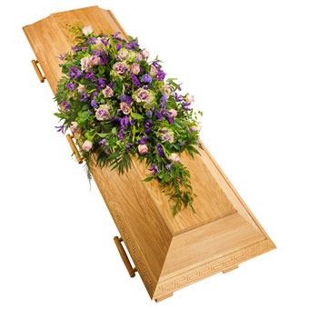 Coffin decoration in purple colours
