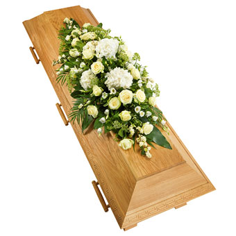 Coffin decoration in white colours