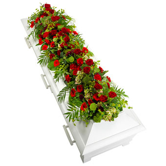 Coffin decoration in red and green