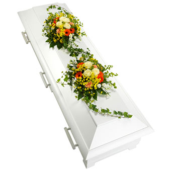 Coffin decoration in yellow, white and orange