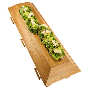 Coffin decoration in white and green
