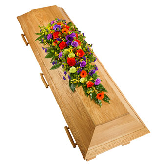 Coffin decoration in mixed colours