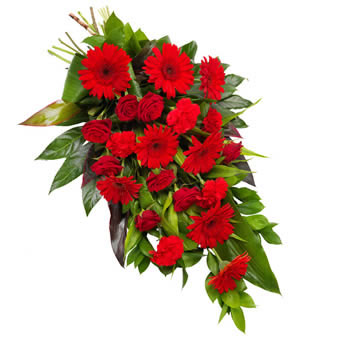 Lovely red funeral bouquet