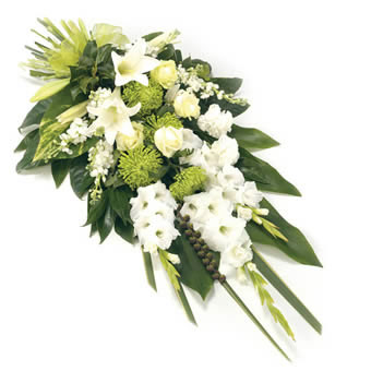 Funeral bouquet in white colors