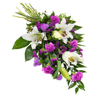 Funeral sheaf in purple and white colours.