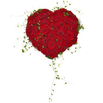 trauergesteck aus roten rosen in herzform. Black Bedroom Furniture Sets. Home Design Ideas