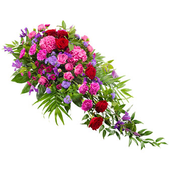 Funeral spray in cerise, purple and red