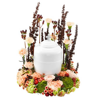 Urn arrangement in soft autumn colours