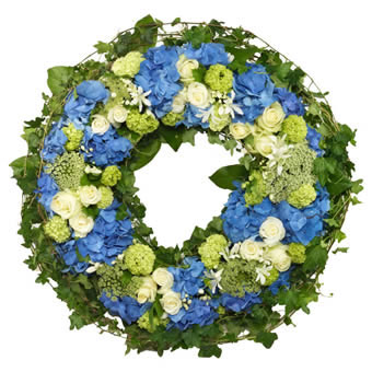 Blue Funeral Wreath