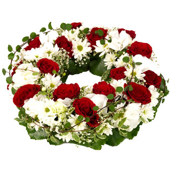 Funeral wreath in red and white