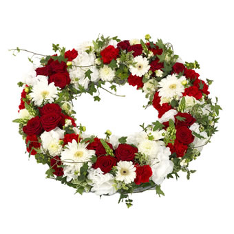 Red and white funeral wreath