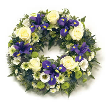 Funeral Wreath in Blue and White