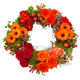 Orange-red funeral wreath
