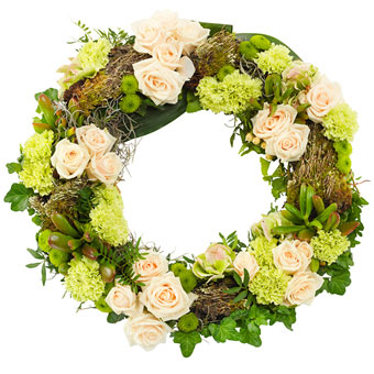 White and green funeral wreath