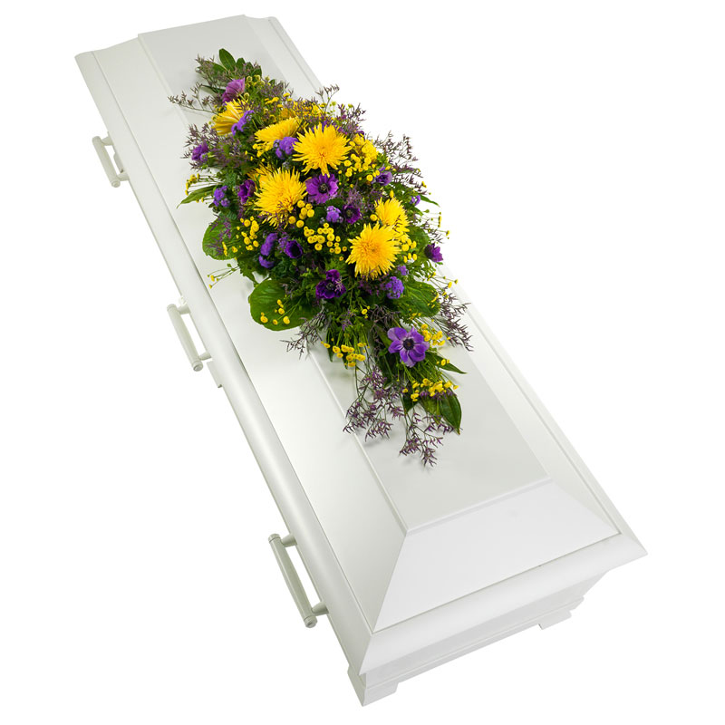 Coffin decoration in yellow and purple