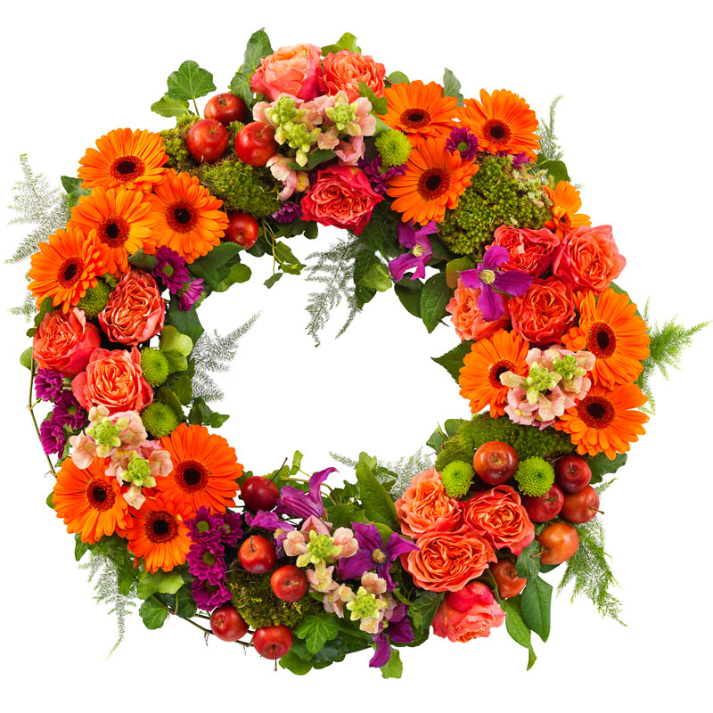 Orange and purple funeral wreath